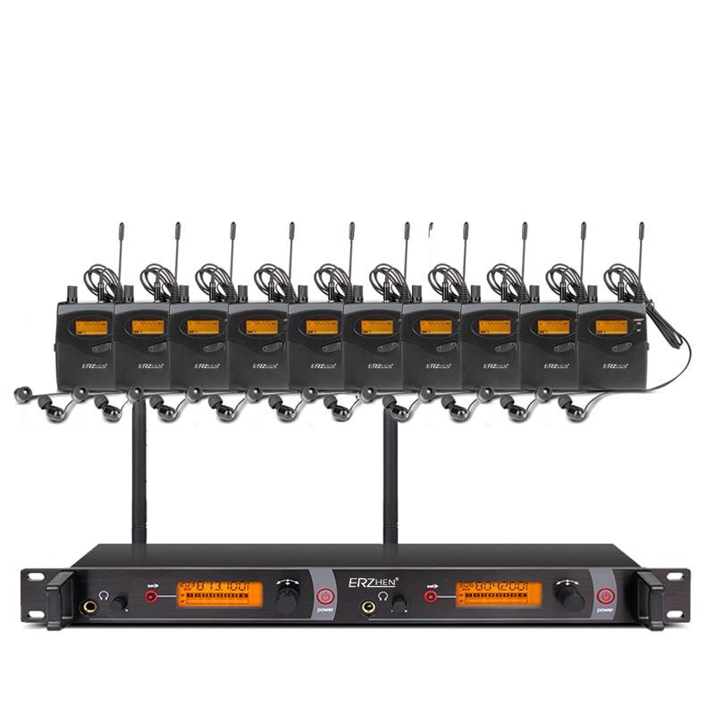 EM2050 Professionale 10 ricevitori in fase del suono del monitor Trasmettitore del sistema di sistemi di dell'orecchio Set ERZHEN