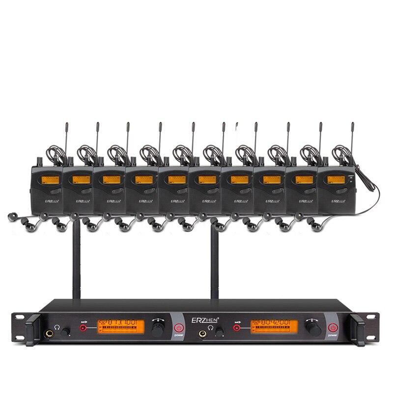 EM2050 profesional 10 receptores en la etapa monitor sistemas de sonido oído sistema transmisor conjuntos ERZHEN