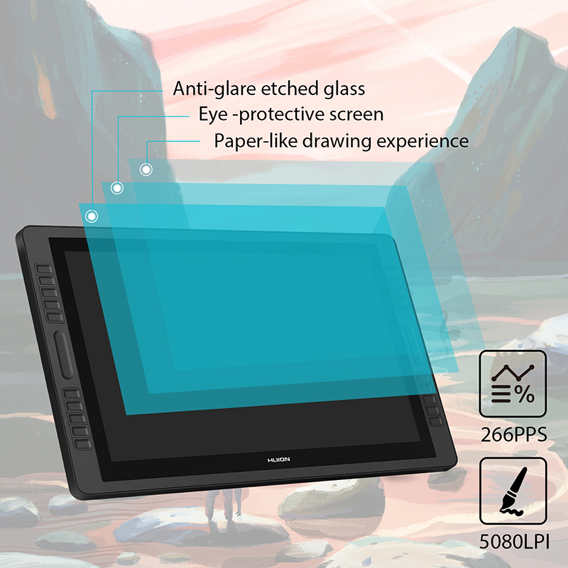 "Image 3 - Huion Kamvas Pro 22 2018 Pen Tablet Monitor Digital Drawing Monitor 21.5"" 8192 Levels  Battery Free Pen Display Monitor-in Digital Tablets from Computer & Office"