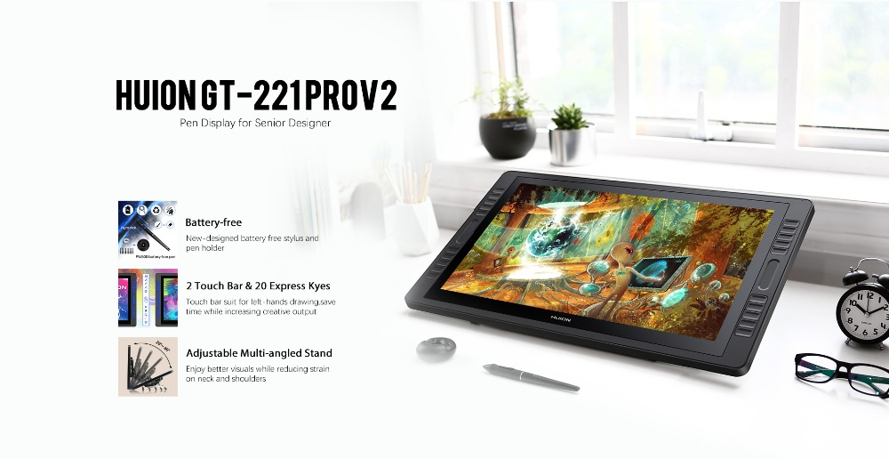 HUION kamvas Pro 22 GT-221 Pro V2 Pen Tablet Monitor Graphics Drawing Pen  Display Monitor with 8192 Levels Batter-free Pen