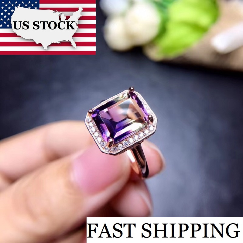 US STOCK Uloveido Square Purple Amethyst Rose Gold 925 Sterling Silver Cocktail Ring Girl Women Engagement