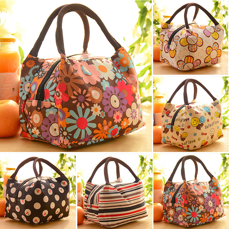 Portable Waterproof Women Lunch Bag Lady Food Picnic Multifunction Bags Handbags Lunchbox Flowers Pattern Storage Box Kids