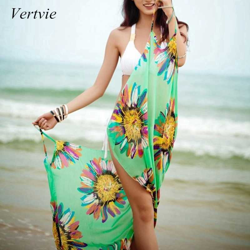 9df954f10d vertvie 2018 Sexy Women Bikini Cover Up Scarf Chiffon Beach Wear Swimwear  Cover-up Spaghetti