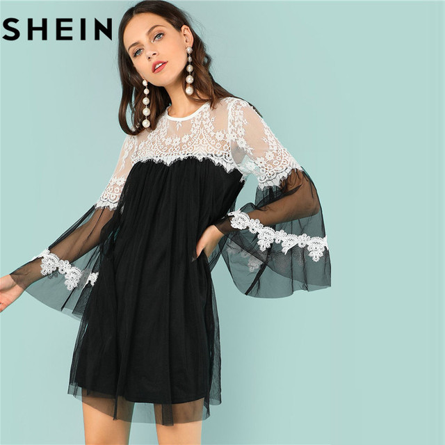Shein Flounce Sleeve O Neck White Lace Trim Black Mesh Girls Loose