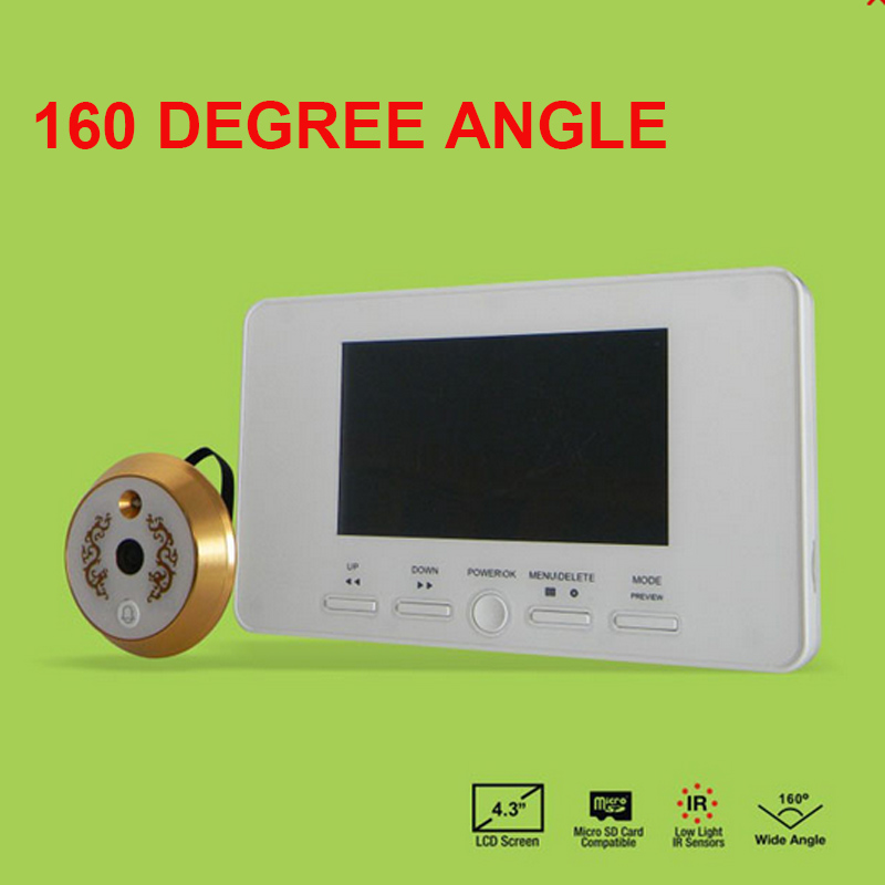 160 Degree Wide Angle Door Peephole Viewer Camera 4.3 Inch TFT-LCD Digital Video Doorbell Video Door Camera Intercom Door Bell
