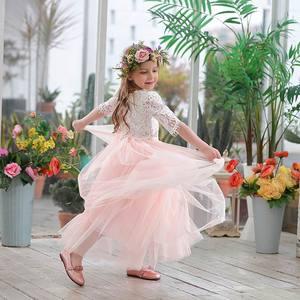Image 2 - 2019 봄 여름 세트 여자 하프 슬리브 레이스 탑 + 샴페인 핑크 롱 스커트 아동복 0 10T E17121