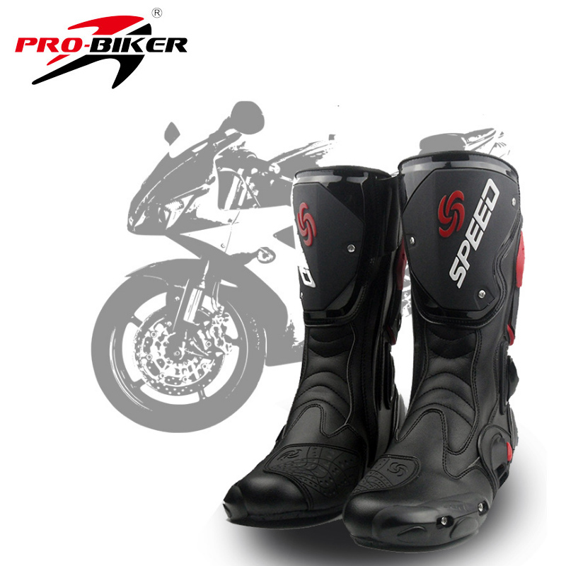 Men s Motorcycle Protective Gear Boots Pro Biker SPEED Riding Shoes Motocross Microfiber Leather Boot botas