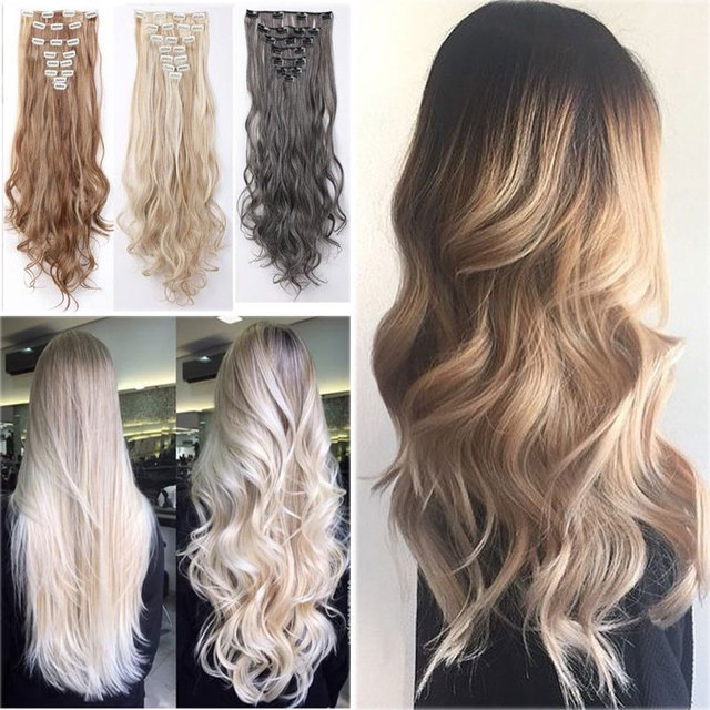 Any Colorsfree Shipping 60cm 24inch 8pcsset Curly Hair Extension