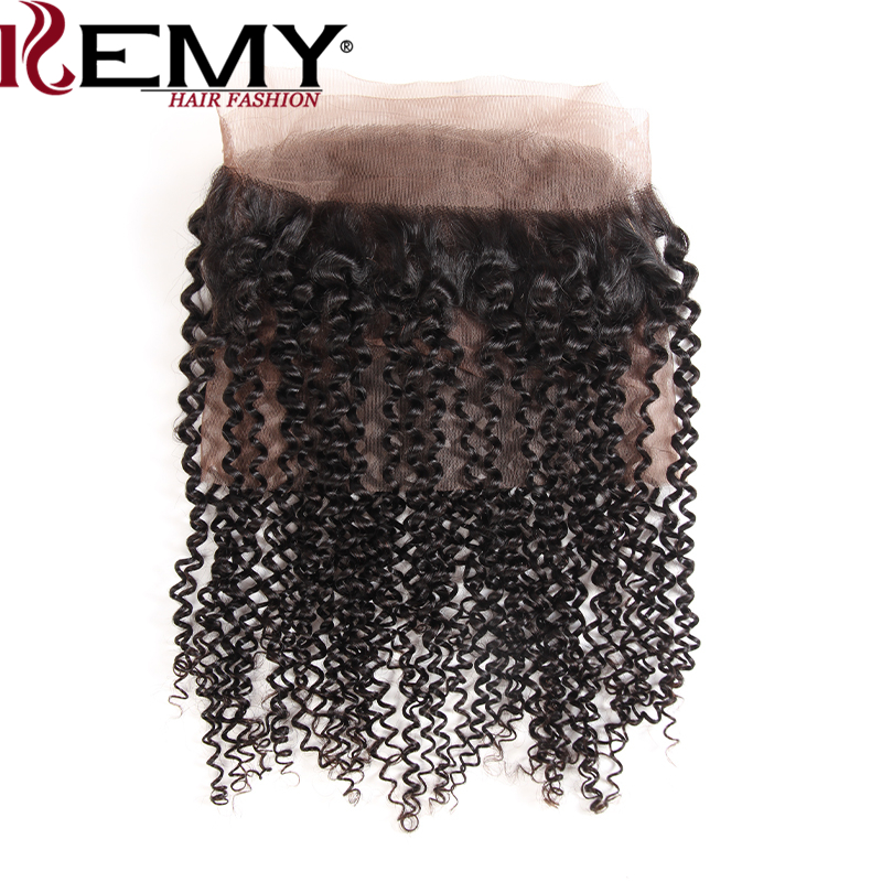 KEMY HAIR 360 Lace Frontal Closure With Baby Hair 22*4*2 Brazilian Kinky Curly Frontal Natural Color 100% Remy Human Hair