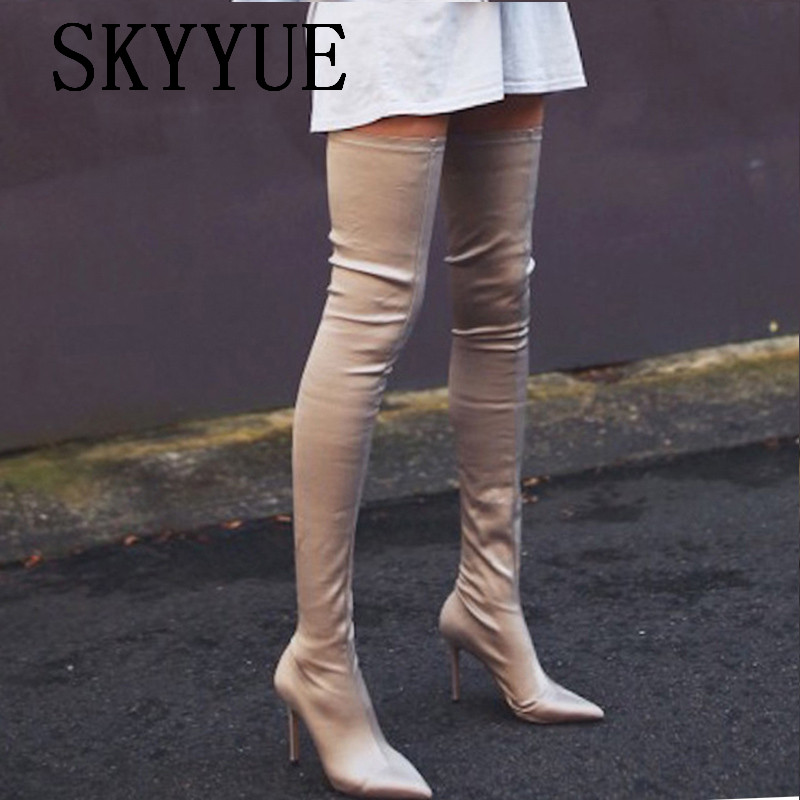 2018 New Stretch Fabric Gladiator Over The Knee High Thigh HIgh Boots Sexy Pointed Toe Slip On Women Spring Motorcycle Boots