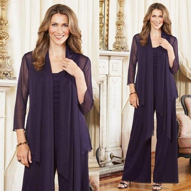 Dark Purple Mother of the Bride Pants Suit Chiffon Long Sleeves 2 Piece Custom
