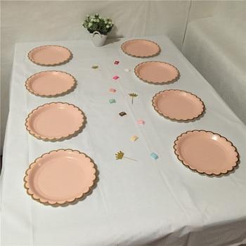 24 Uds. Placas de papel para fiesta de aluminio dorado, platos redondos pequeños de 7 pulgadas/18cm, suministros para cumpleaños de Chico, vajilla de oro rosa Pastel