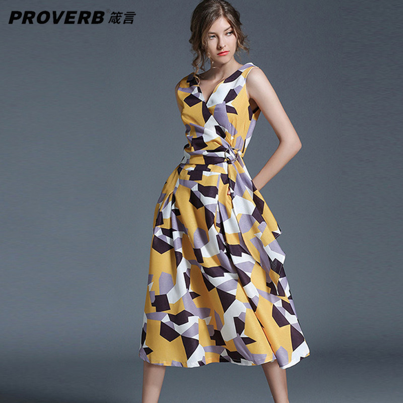 PROVERB Boho Women Desses Print V Neck Sleeveless Bodycon Midi Lady Dress Vintage Casual Swing Dresses Beach Wear Vestidos