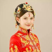 Cultura Tradicional chinesa Noiva Cocar de Casamento grampo de Cabelo estilo Clássico Conjunto Flor borboleta Bead Tassel Headband Hairwear