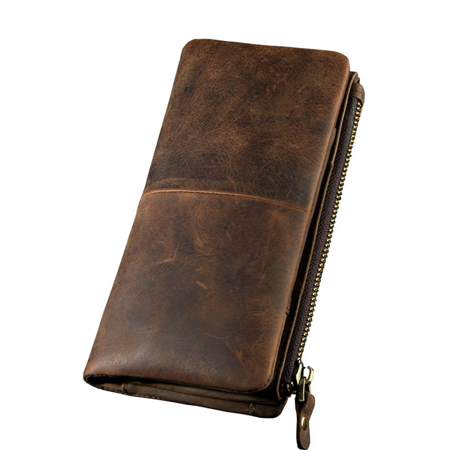 Brand Retro Clutch Cell/Mobile Phone Case Cover Wallet Men's Genuine Leather Long Wallets Cash Dollar Credit Card Holder Purse hot sale 2015 harrms famous brand men s leather wallet with credit card holder in dollar price and free shipping