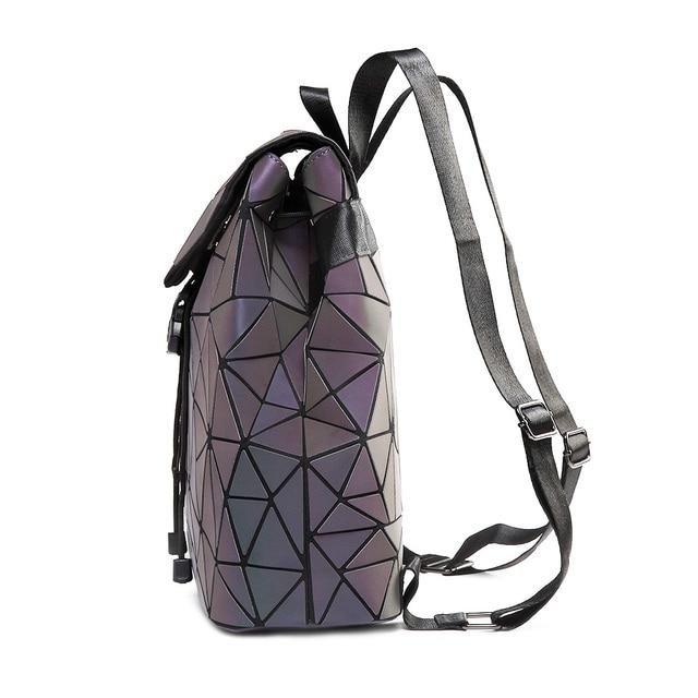 Women Backpack Luminous Geometric Plaid Sequin Female Backpacks For Teenage Girls Bagpack Drawstring Bag Holographic Backpack 2