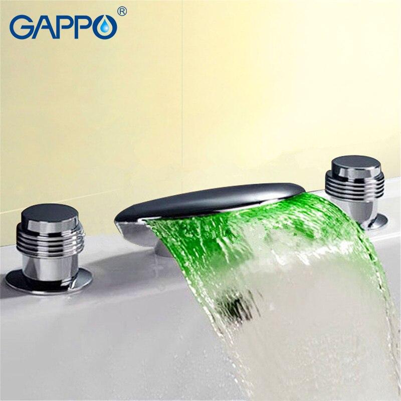 GAPPO robinet de baignoire baignoire douche mitigeur d'eau robinet led salle de bain robinet de douche robinet cascade robinets de bain pont monté