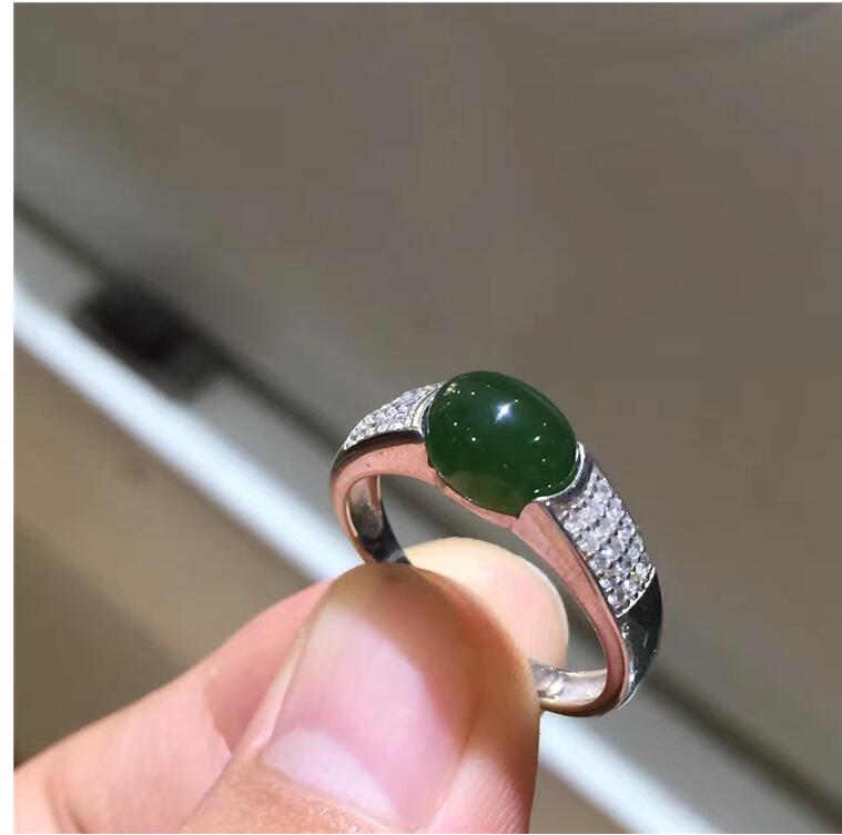 Free shipping Woman Ring Natural Hetian Jasper Ring 925 sterling silver Ring Wholesales Fine jewelry  6*8mm  Gem Size Free shipping Woman Ring Natural Hetian Jasper Ring 925 sterling silver Ring Wholesales Fine jewelry  6*8mm  Gem Size
