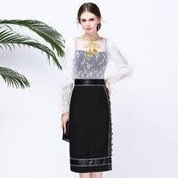 High Quality New 2017 Fashion Designer Suit Set 3 Piece Women S Long Sleeve White Lace