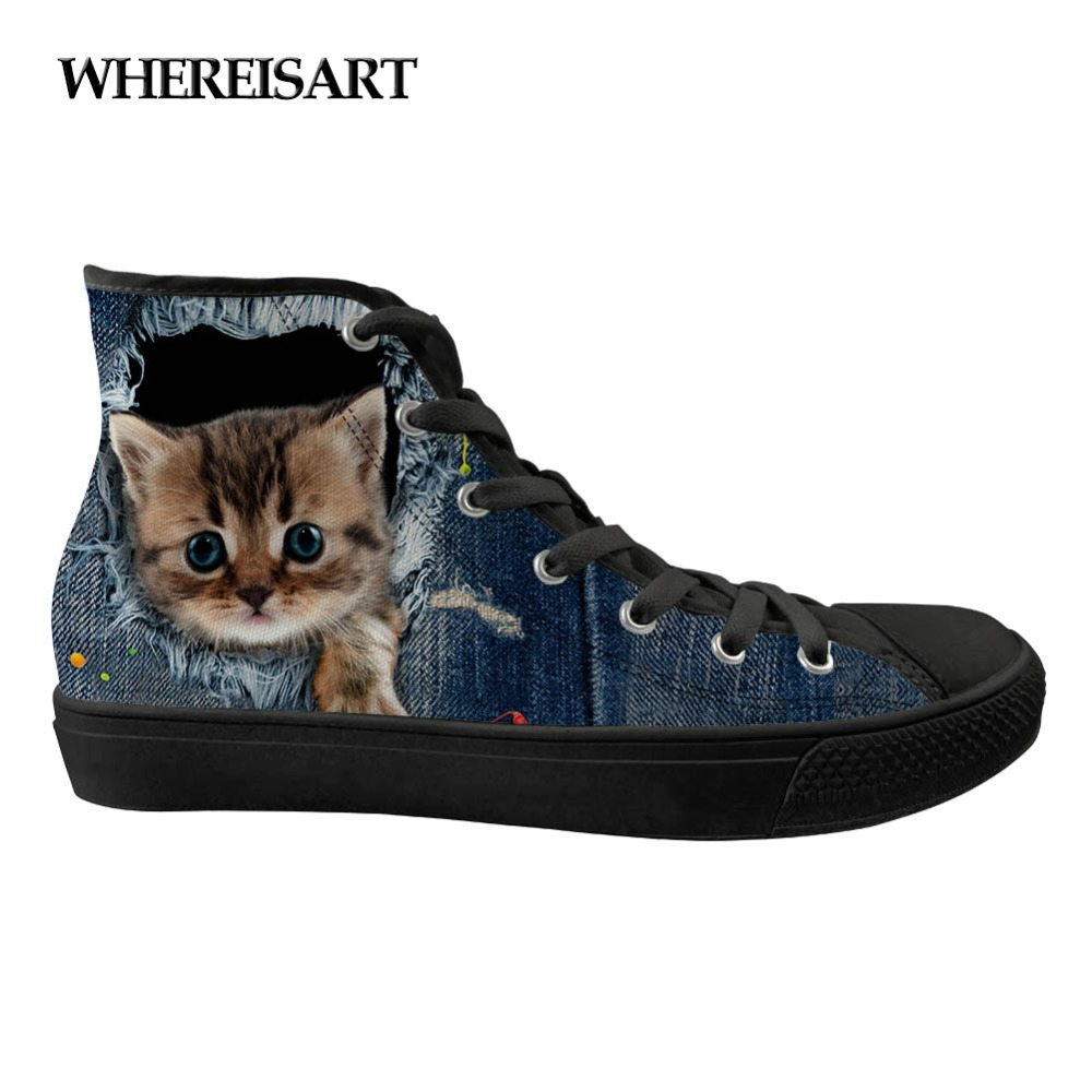WHEREISART 2019 Summer Fashion Women Shoes For Flat Feet Women High Top Sneakers Canvas Chossure Famme Girl Sport Shoes Woman image