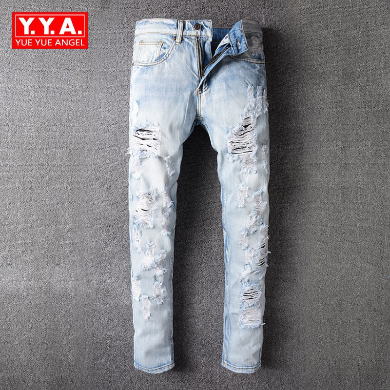 Fashion New Brand 2018 Hole Ripped Jeans For Men Embroidery Floral Full Length Casual Slim Fit Pant Mens Classical Trousers