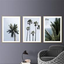 купить HAOCHU Nordic Modern Canvas Painting Coconut Trees Landscape Personality Living Room Bedroom Home Decor Wall Picture Art Print по цене 228.61 рублей