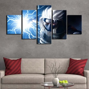 Modular Pictures 5 panel Canvas painting Naruto Hatake Kakashi Art Canvas Painting Print Picture Framework poster F2585(China)
