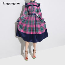 Hongsonghan 2019 Spring French style womenswear look with stand neckline plaid striped pattern dresses and long-sleeved dress