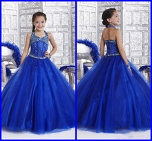 Halter Organza Beaded Bodice Little Girl's Pageant Dresses A Line Junior Floor Length Princess Formal Glitz Flower Girl's Gowns 2017 glitz emerald green girls pageant dresses halter high neck tulle beaded crystals kids birthday prom gowns