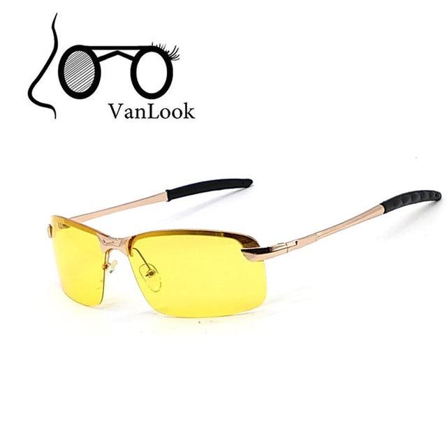 aea5f0f83ad98 Amarelo óculos de Sol Polaroid Óculos de Sol Para Homens Lente Polarizada  Dirigir À Noite No