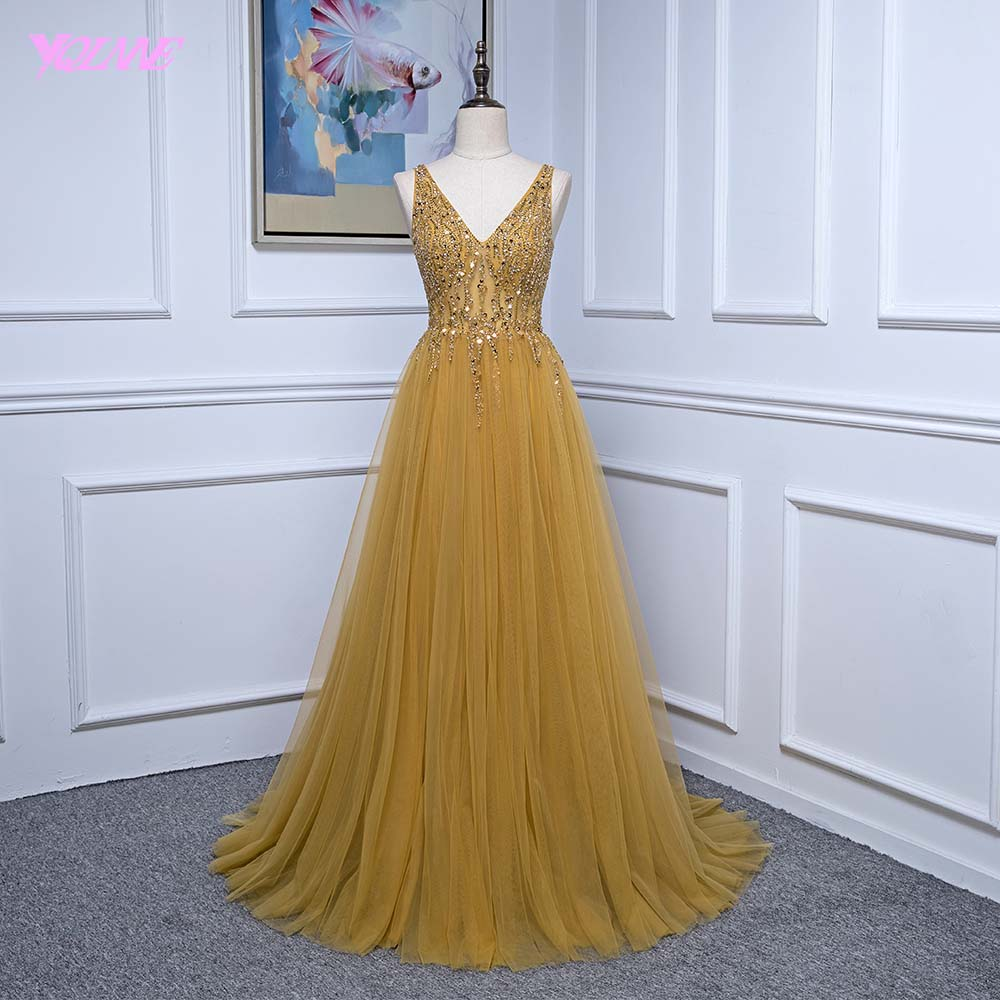 YQLNNE 2018 Gold Long   Prom     Dresses   Deep V Neck Tulle Crystals Beaded Vestido De Festa