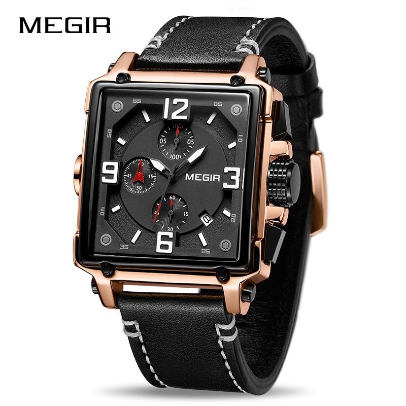 Image 5 - MEGIR Для мужчин большой циферблат Роскошные Лидирующий бренд Кварцевые наручные часы Творческий Бизнес Нержавеющаясталь спортивные часы Для мужчин Relogio MasculinoКварцевые часы   -