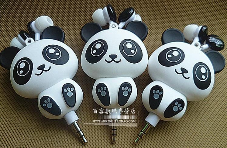 Earpod earphone with gift box Panda automatic retractable headphones cellphone mp3 music cartoon earphones for kids and girls