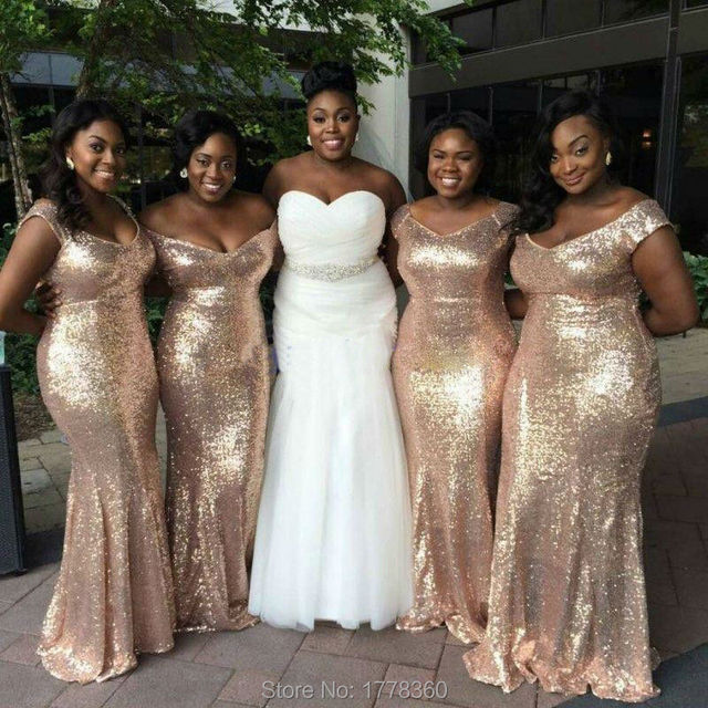 Fashion Sequin Long Rose Gold Bridesmaid Dresses 2017 Cap Sleeves Slim Mermaid Women Formal Dress For