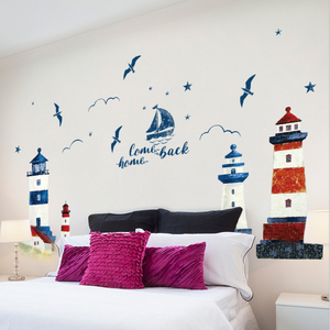 Image 3 - 60*90CM Room Decoration Mediterranean Lighthouse Wall Sticker PVC Background Decoration Sticker For Wall Decor