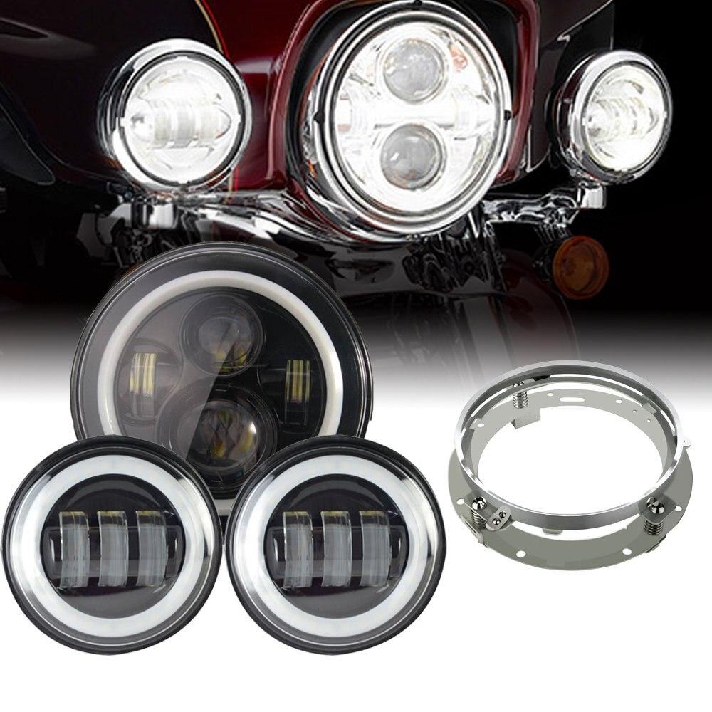 "Здесь продается  Marloo Harley White Halo Headlight Set - 7"" Projector Daymaker LED Headlight Passing Lights For Harley Touring Road King  Автомобили и Мотоциклы"