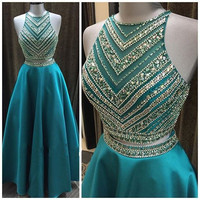 Sang trọng Pha Lê Beadings Two Pieces Prom Dresses Dài Tầng Length 2 Cái Prom Gowns Sparkly Teal Xanh Tốt Nghiệp Dresses