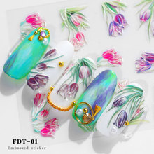 1pcs 5D Flower series Nail Art Transfer Holographic  Designs Nail Stickers Decal  Decoration Manicure flamingo nail stickers animal series water decal ocean cat plant pattern 3d manicure sticker nail art decoration