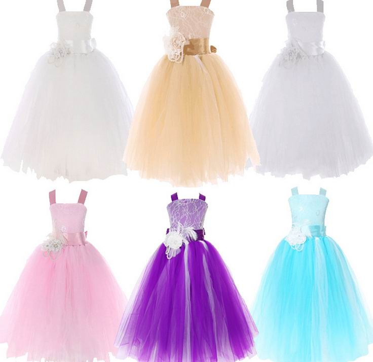 Retail 2017 New Girl Party Dress Champagne Flower Lace Princess TUTU Dress Wedding Dress Children Clothing 2-13Y DD1168 retail new arrival100