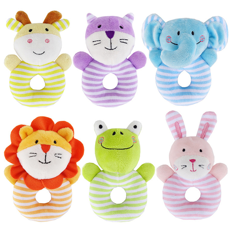 Infant Baby Stuffed Plush Rattle Grab Bar Toys Learning Educational Soft Animal Rattle Bells for Bed Stroller Toys for Children