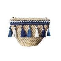 Summer Tassel Knitting Straw Bag Mini Beach Bag Women Travel Rattan Tote Knitted Hand Bag Girls
