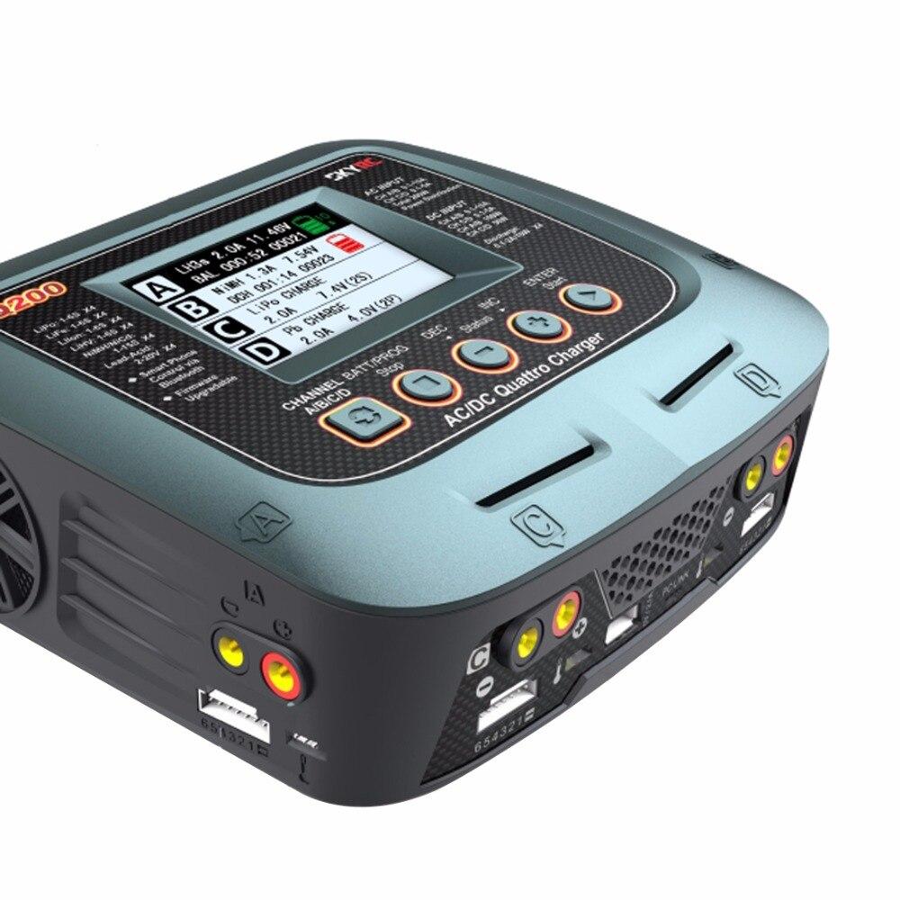 SKYRC Q200 1 para 4 Inteligente Carregador/Descarregador AC/DC Carregador de Equilíbrio Zangão para Lipo/LiHV/ bateria de lítio-ferro/Li-ion/NiMH/NiCD/Chumbo-ácido