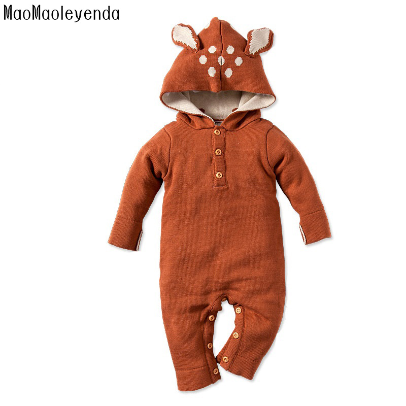 Newborn Baby Rompers Reindeer Ear Hooded Infant Jumpsuit Winter Baby Girl Boy Knitted Sweater Rabbit Deer Roupas De Bebe Clothes baby clothes baby rompers winter christmas costumes for boys girl zipper rabbit ear newborn overalls jumpsuit children outerwear