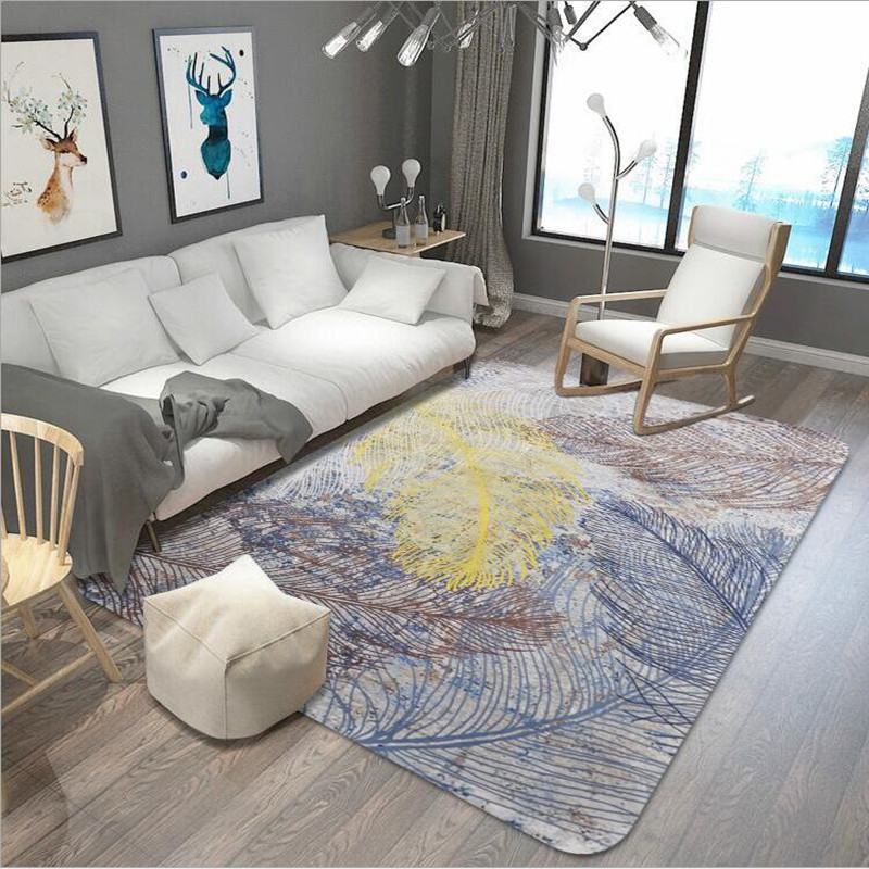 Fashion Trend Five colored feathers pattern rugs and carpets for Home living room tapete coffee table Anti-skid Floor Mat CarpetFashion Trend Five colored feathers pattern rugs and carpets for Home living room tapete coffee table Anti-skid Floor Mat Carpet