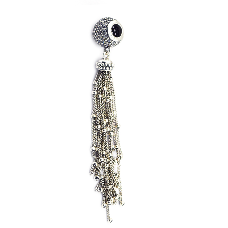 DIY Beads For Jewelry Making Sterling-Silver-Jewelry Enchanted Tassel Bead Clear CZ Charms Silver 925 Berloque Perles