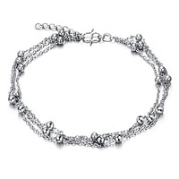 Cute Full Little Balls Indian Anklet Bracelet Argent 925 Foot Chain, Plated Silver Anklets for Women Foot Bracelet Ankle