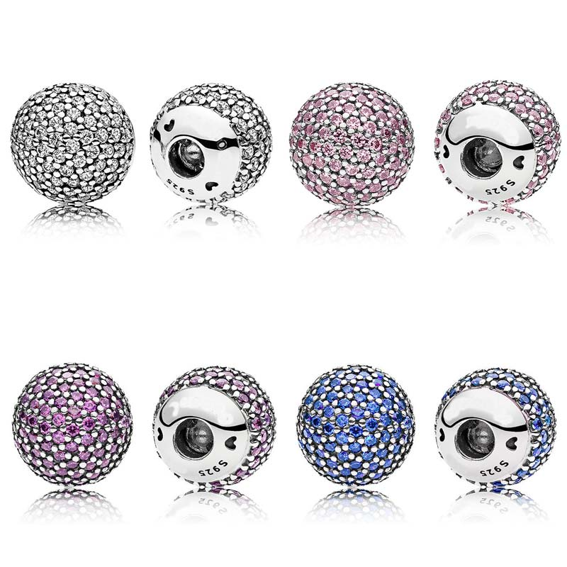 New 925 Sterling Silver Bead Charm Pave Open Bangle End Cap With Cubic Zirconia Beads Fit DIY Bracelet Bangle Diy Jewelry
