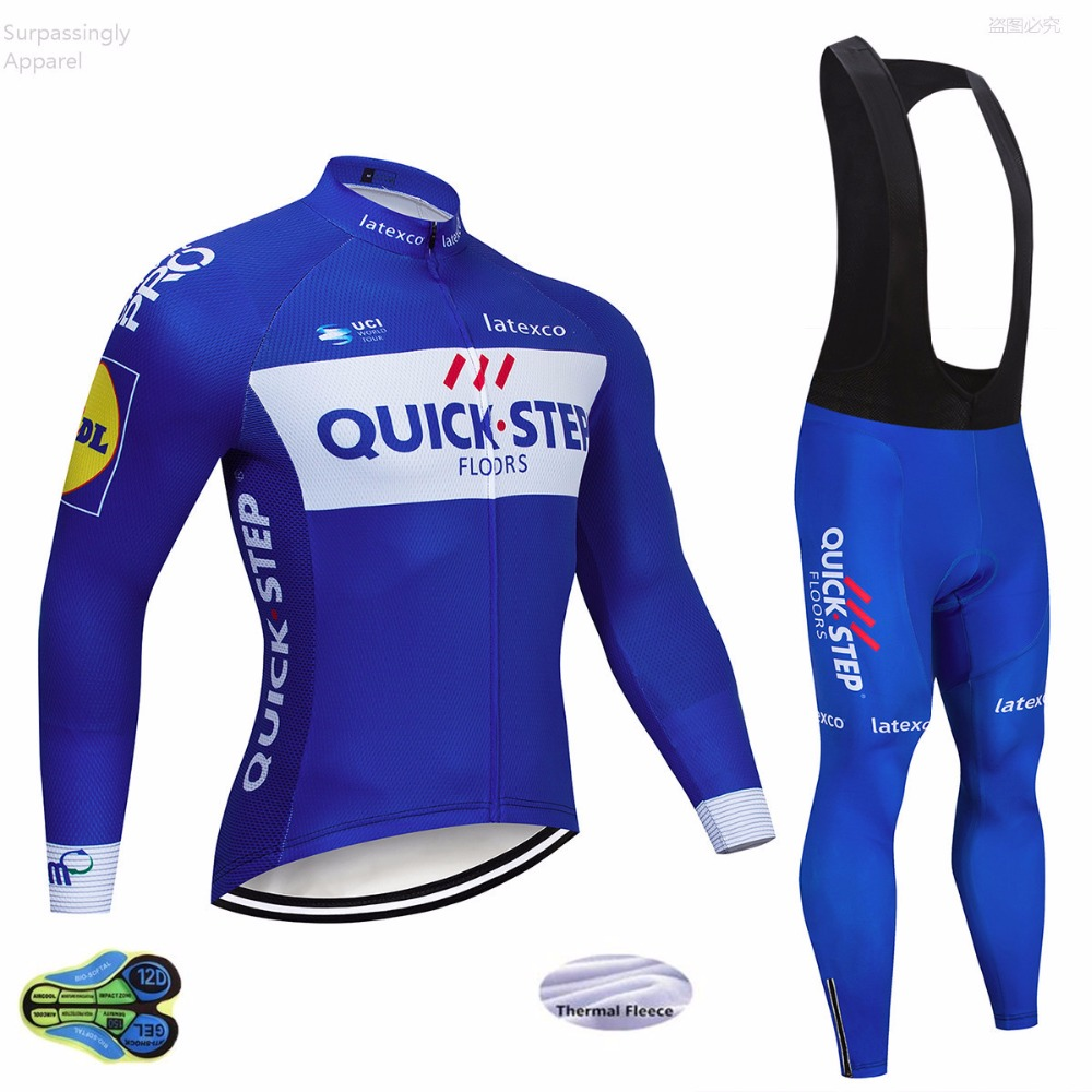 UCI 2018 Pro Team Quick Step Winter Fleece Cycling Jersey Bib Pants Set Mallots de Cliclismo Invierno Bicycle Bike Clothing UCI 2018 Pro Team Quick Step Winter Fleece Cycling Jersey Bib Pants Set Mallots de Cliclismo Invierno Bicycle Bike Clothing