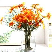 Flores artificiales románticas 5 ramas 5 cabezas Estilo Vintage Margarita ramo para el hogar jardín Oficina mesa boda decoración