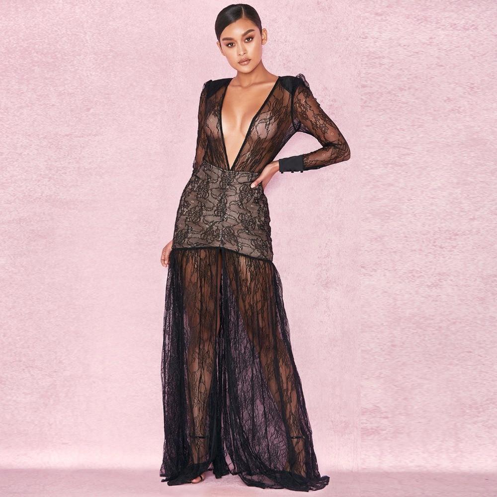 2018 Black Summer Long Sleeve Mesh Sexy Women Dress Maxi Hollow Out Deep V Neck Patchwork High Split Celebrity Vestidos Dresses